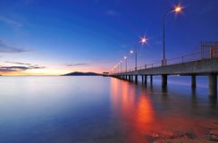 Concrete Jetty at Twilight. A scene of Jetty at twilight royalty free stock photography