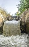 Waterfalls portion at irrigation canal, Spain Royalty Free Stock Images