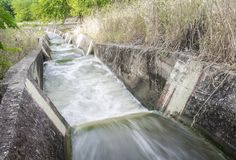 Waterfalls portion at irrigation canal, Spain Royalty Free Stock Image