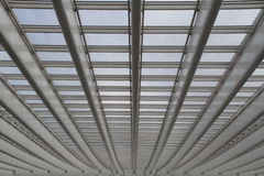 Concrete Lines. An abstract closeup of the white concrete lines of a train station roof royalty free stock photos