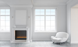 Concrete living room with fireplace. Front view of classic living room interior with concrete floor, white armchair, windows with city view and a blank picture Stock Image