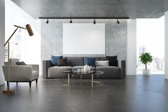 Concrete living room, white armchair Royalty Free Stock Images
