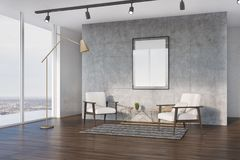 Concrete living room, white armchairs, side. Side view of a loft living room interior with concrete walls, a wooden floor, two white armchairs and a framed Royalty Free Stock Photography