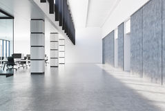 Concrete loft office, white columns Royalty Free Stock Photos