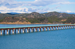 Concrete long bridge Stock Images