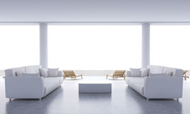 Concrete lounge interior. With small coffee table, two sofas and chaise longues. 3D Rendering Stock Images