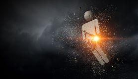 Concrete male figure. Stone cracked male figure on dark sky background Royalty Free Stock Photography