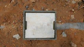Concrete manhole on ground Stock Photo