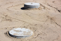 Concrete manholes Stock Image