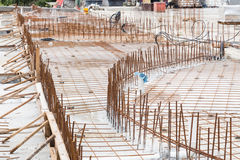 Concrete metal mesh rebar at construction site for floor foundat Royalty Free Stock Images