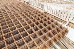 Concrete metal mesh reinforcement at construction site Royalty Free Stock Photos
