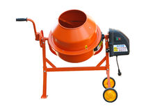 Concrete Mixer. Orange Concrete mixer isolated on the white background Royalty Free Stock Images