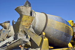 Concrete mixer. Lorry of yellow blue color with a concrete mixer Royalty Free Stock Images