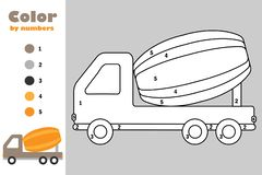 Concrete mixer in cartoon style, color by number, education paper game for the development of children, coloring page, kids. Preschool activity, printable stock illustration