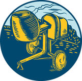 Concrete Mixer Circle Woodcut Royalty Free Stock Photography