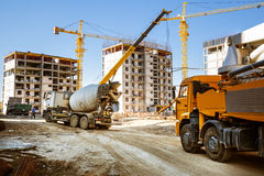 Concrete mixer and the concrete pump Stock Images