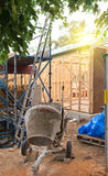 Concrete mixer at construction cite Royalty Free Stock Images