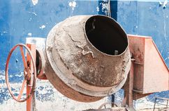 Concrete mixer of a construction. Used, dirty with cement stock photo