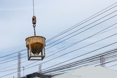 Concrete mixer container at construction site Royalty Free Stock Image