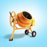 Concrete mixer 3D illustration on blue bacground. Image Stock Photo