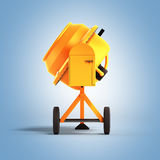 Concrete mixer 3D illustration on blue bacground. Image Royalty Free Stock Photo