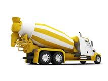 Concrete mixer die met het knippen van weg wordt geïsoleerd0 Royalty-vrije Stock Foto