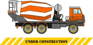 Concrete mixer. Heavy construction machines. Vector illustration Royalty Free Stock Image