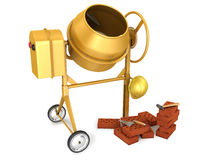 Concrete mixer with helmet, trowel and bricks. Clean new yellow concrete mixer with helmet, trowel and few bricks, on white background Stock Images