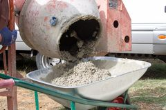 Concrete mixer at the job-site. Construction industry stock photos