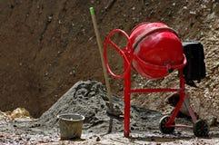 Concrete mixer. Portable cement mixer at a construction work stock photo