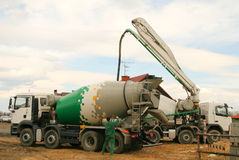 Concrete mixer truck. Construction industry machinery. Concrete mixer truck and a worker Royalty Free Stock Photography