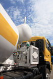Concrete mixer truck. Engine of new concrete mixer truck Stock Image