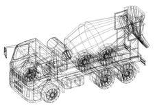 Concrete mixer truck 3D blueprint - isolated. Shoot of the Concrete mixer truck 3D blueprint - isolated Stock Image