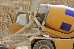 Concrete mixer truck detail Stock Photos
