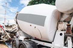 Concrete mixer truck. Focus on the mixer. Truck that spins concrete royalty free stock image