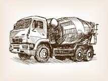 Concrete mixer truck hand drawn sketch vector Royalty Free Stock Photos