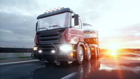 Concrete mixer truck on highway. Very fast driving. Building and transport concept. 3d rendering. Royalty Free Stock Images