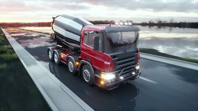 Concrete mixer truck on highway. Very fast driving. Building and transport concept. Realistic 4K animation. Concrete mixer truck on highway. Very fast driving stock video