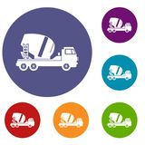 Concrete mixer truck icons set Stock Photos