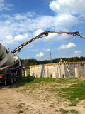 Concrete mixer truck with pump Royalty Free Stock Photos