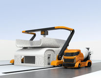 Concrete mixer truck in the side of industrial 3D printer which printing house Stock Photography