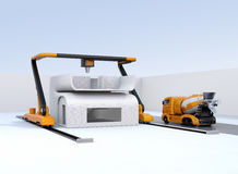 Concrete mixer truck in the side of industrial 3D printer which printing house. 3D rendering image Stock Photos