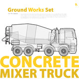 Concrete mixer truck. Typography set with auto-mix. Construction machinery vehicle. Royalty Free Stock Photo