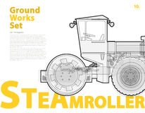 Concrete mixer truck. Typography set with roadroller. Construction machinery vehicle. Stock Images