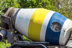 Concrete mixer truck on uk motorway in fast motion.  royalty free stock photo