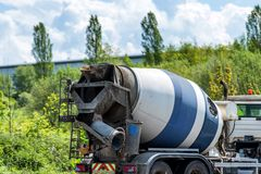 Concrete mixer truck on uk motorway in fast motion.  royalty free stock photography