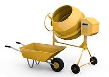 Concrete mixer and wheelbarrow. Yellow concrete mixer and wheelbarrow - 3D rendered image Royalty Free Stock Image