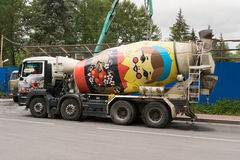 Concrete Mixer, which is painted as matryoshka Royalty Free Stock Image