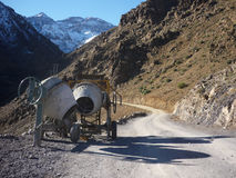 Concrete mixers on old route in Atlas mountains royalty free stock photos