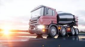 Concrete mixervrachtwagen op weg Zeer snel drijvend De bouw en vervoerconcept het 3d teruggeven Stock Afbeeldingen